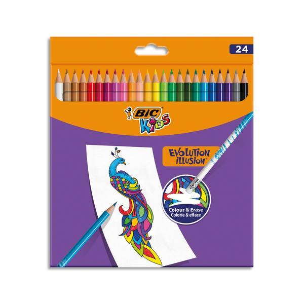BIC Pochette de 24 Crayons de couleur Kids Evolution Illusion corps rond assortis, effaçable bout gomme (photo)
