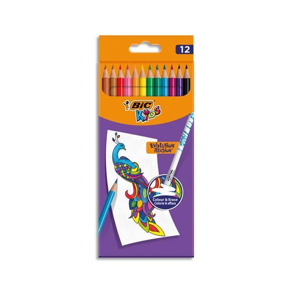 BIC Pochette de 12 Crayons de couleur Kids Evolution Illusion corps rond assortis, effaçable bout gomme (photo)