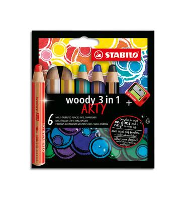 STABILO Etui carton 6 Crayons couleur Woody 3en1 ARTY, mine extra large 10 mm, assortis + 1 taille-crayon