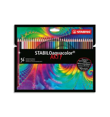 STABILO Etui carton 36 Crayons de couleur aquarellables Aquacolor ARTY, mine solide 2,8 mm, assortis