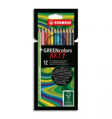STABILO Etui carton 12 Crayons de couleur GREENcolors ARTY, corps fin hexagonal, bois, Mine 3mm, assortis