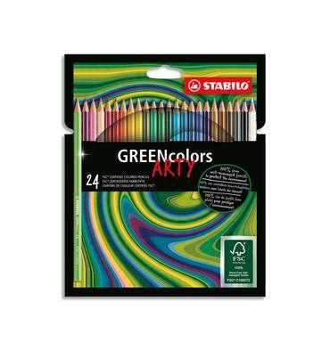 STABILO Etui carton 24 Crayons de couleur GREENcolors ARTY, corps fin hexagonal, bois, Mine 3mm, assortis