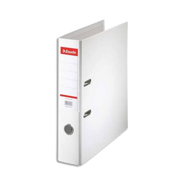 ESSELTE Classeur à levier à dos de 7,5 cm plastifié intérieur et extérieur blanc