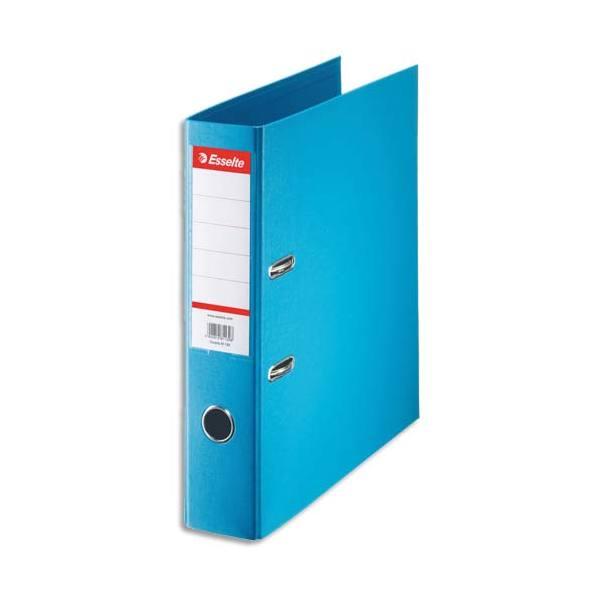 ESSELTE Classeur à levier à dos de 7,5 cm plastifié intérieur et extérieur bleu clair