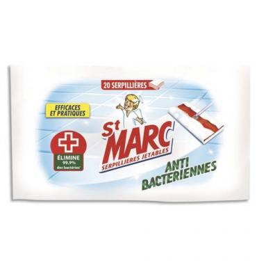 ST MARC Paquet de 20 serpillières jetables anti-bactériennes