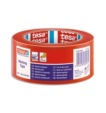 TESA Ruban adhésif PVC 150 rouge de marquage au sol, ruban d'avertissement, 33 m x 50 mm