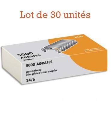 NEUTRE Boîte 5000 agrafes galvanisées 24/6 - Lot 30 ut