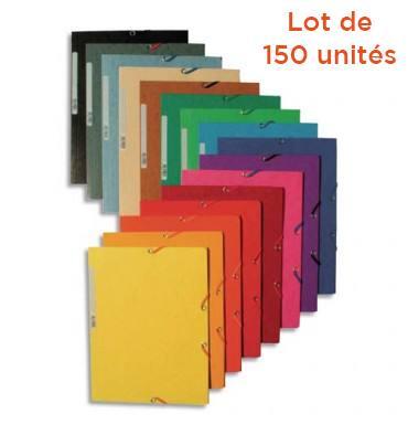 EXACOMPTA Chemise 3 rabats et élastique en carte lustrée 5/10e NATURE FUTURE®, coloris assortis - Lot de 150