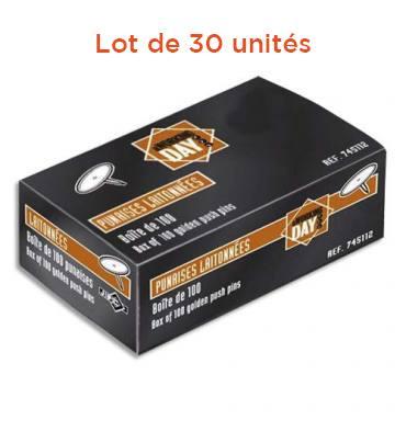WONDAY Lot de 30 boîtes de 100 punaises laitonnées