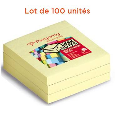 PERGAMY Lot de 100 blocs de 100 feuilles repositionnables dimensions 7,6x7,6cm. Coloris Jaune
