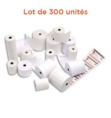 NEUTRE Lot de 300 bobines cartes bancaires thermiques 1 pli, dimensions 57 x 40 x 12 mm