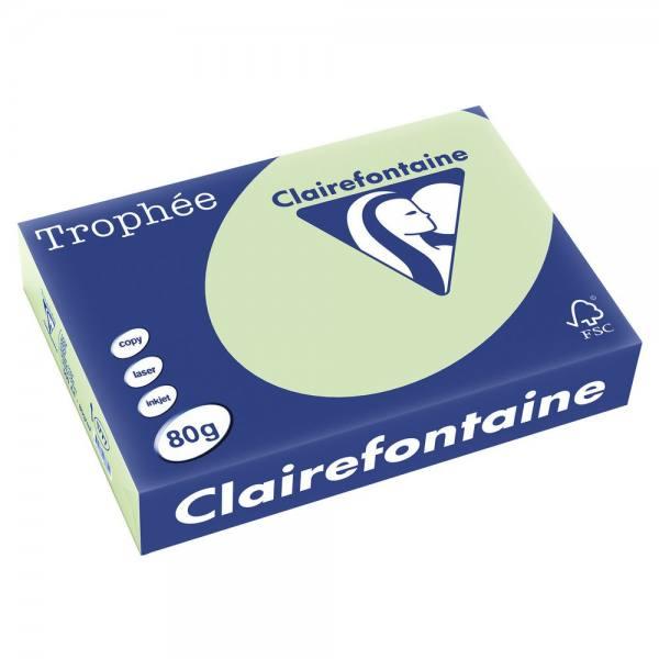 CLAIREFONTAINE Ramette de 500 feuilles papier couleur TROPHEE 80g A4 vert golf