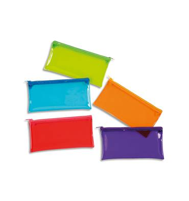 VIQUEL Trousse ovale CRYSTAL 22x11x5cm PVC transparent brillant, assortis : Bleu-Rouge-Vert-Violet-Orange