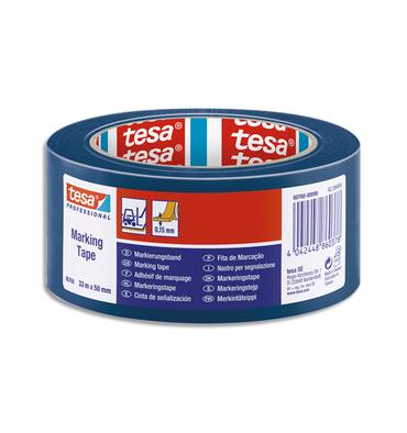TESA Ruban adhésif PVC 150 microns bleu de marquage au sol, ruban d'avertissement, 33 m x 50 mm