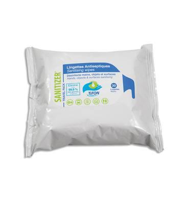 TIFON Paquet 30 lingettes humides 20x20cm pour désinfection des mains et surfaces, actif sur coronavirus