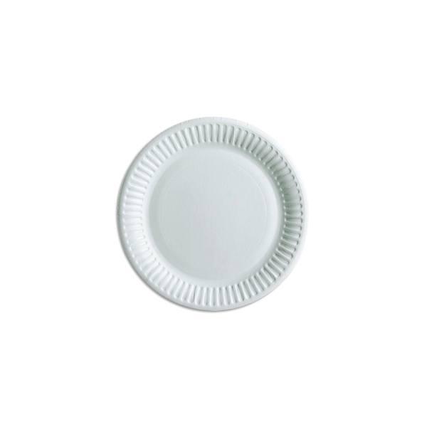 HUHTAMAKI Sachet de 100 Assiettes Blanches en carton, sans péliculage, Diamètre 15 cm (photo)