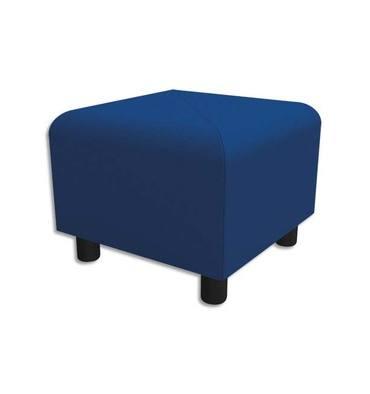 Pouf carré Izar Bleu roi Trevira en tissu polyester, structure métallique