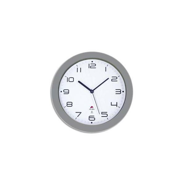 ALBA Horloge murale radio pilotée gris métal diamètre 30 cm Hortime (photo)