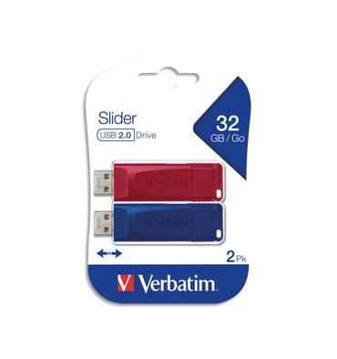 VERBATIM Pack de 2 clés USB 2.0 32Go Rouge/Bleue rétractable 49327