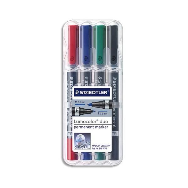 STAEDTLER Etui rigide de 4 marqueurs lumocolor permanent duo double pointe - coloris assortis