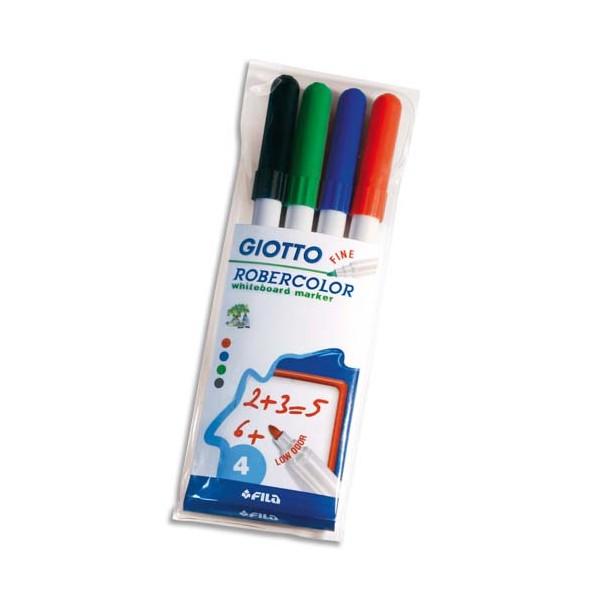GIOTTO Pochette de 4 feutres effaçable à sec pointe ogive moyenne 2,7 mm bleu, noir, rouge, vert