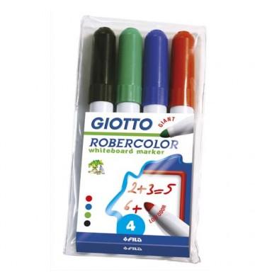 GIOTTO Pochette 4 marqueurs effaçables pointe ogive 7 mm, bleu, rouge, noir, vert. Odeur neutre