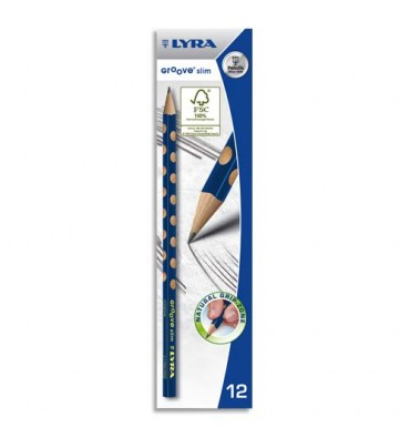 LYRA Crayons graphite triangulaires Groove Slim avec grip zone pour gauchers et droitiers mine HB