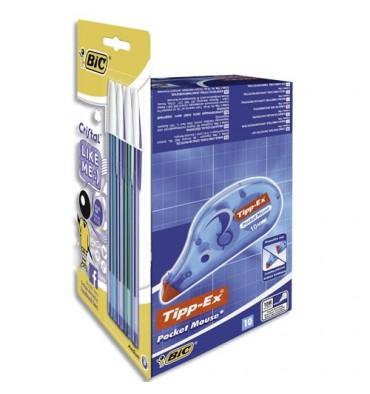 TIPPEX & BIC Pack de lot de 10 Pocket Mouse et 8 stylos bille Like Me