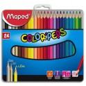 MAPED Boîte métallique de 24 crayons de couleur assortis