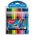 MAPED Pochette de 12 feutres LONG LIFE + 15 crayons de couleur COLOR PEPS
