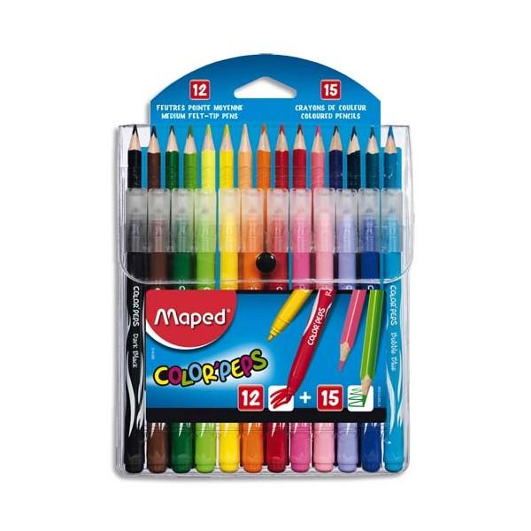 MAPED Pochette de 12 feutres LONG LIFE + 15 crayons de couleur COLOR PEPS