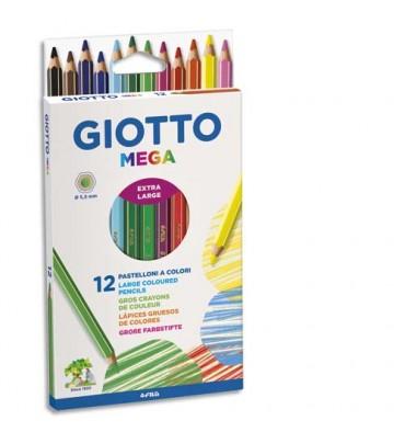 GIOTTO Etui de 12 crayons de couleur hexagonaux Méga assortis diamètre 5,5 mm