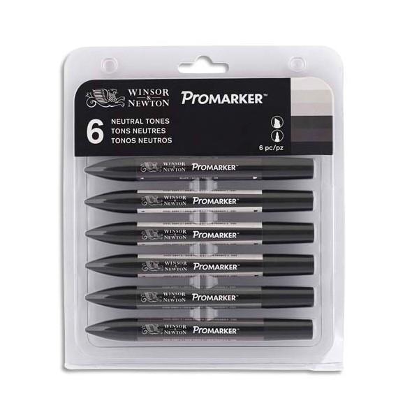 WINSOR & NEWTON Set 6 marqueurs professionnels Promarker tons neutres