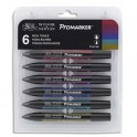WINSOR & NEWTON Set 6 marqueurs double pointe Promarker. A base d'alcool. Tons riches assortis
