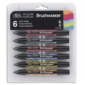 WINSOR & NEWTON Set 6 marqueurs double pointe Brushmarker à base d'alcool. Tons moyens assortis