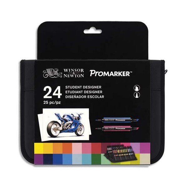 WINSOR & NEWTON Trousse 24 marqueurs double pointe Promarker. A base d'alcool. Tons assortis