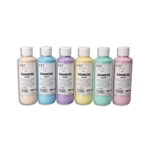 ART PLUS Coffret de 6 x 250 ml gouache pastel assorties (photo)