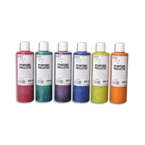ART PLUS Boîte de 6 x 250 ml de gouache pailletée couleurs assorties (photo)