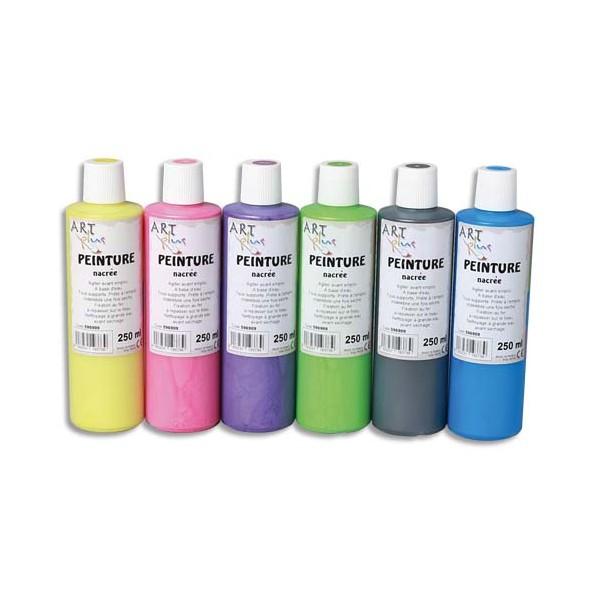 ART PLUS Coffret de 6 flacons de 250 ml de peinture nacrée (photo)