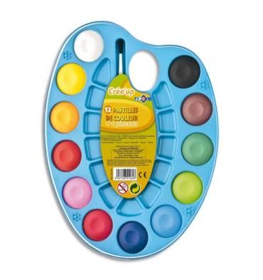 JPC Palette ovale de 12 pastilles de couleur + 1 pinceau