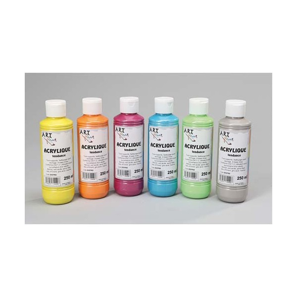 ART PLUS Lot de 6 x 250 ml gouache acrylique coloris assortis (photo)