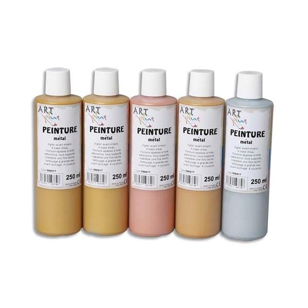 ART PLUS Coffret de 5 flacons de 250 ml de peinture métal (photo)