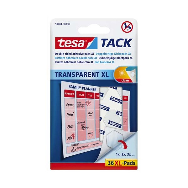 TESA Etui de 36 pastilles adhésives double-face Tack XL, charge 45 g