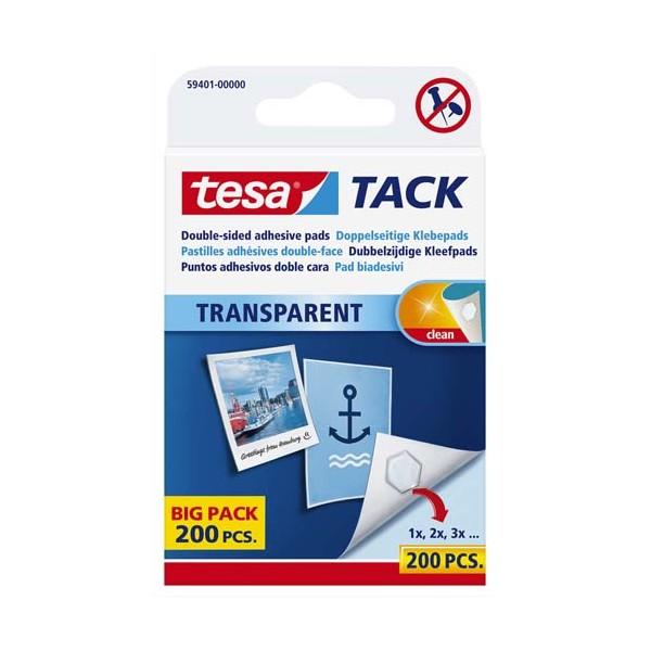 TESA Etui de 200 pastilles adhésives double-face Tack, charge 30 g