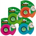 SCOTCH Dévidoirs Colors 19 mm x 19 m. Assortis : vert, bleu, rose et orange
