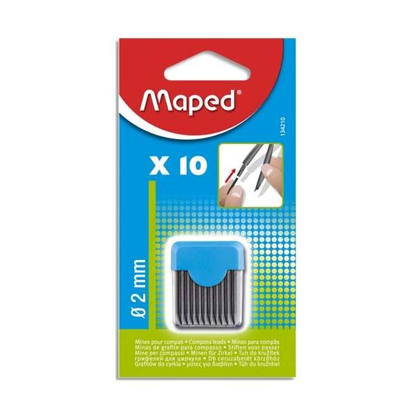 MAPED Blister étui de 10 mines de rechange pour compas pointe 2 mm