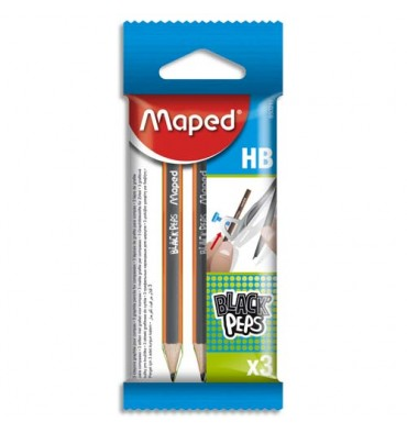 MAPED Sachet brochable de 3 mini crayons graphites HB Black'Peps
