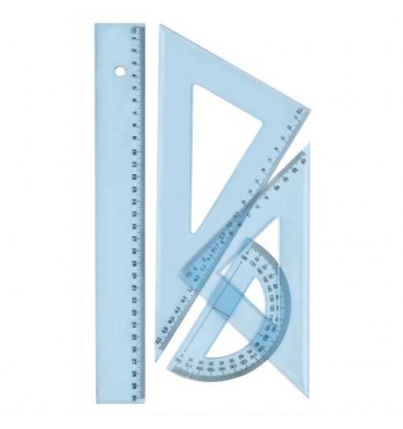 SCHOOLDAY Kit de traçage 4 pièces en plastique incassable, 1 règle 30 cm, 1 rapporteur, 2 équerres