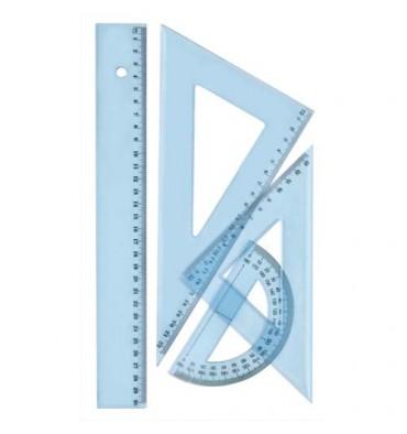 WONDAY Kit de traçage 4 pièces en plastique incassable, 1 règle 30 cm, 1 rapporteur, 2 équerres