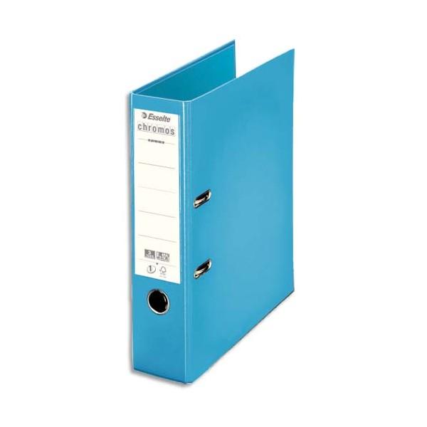 ESSELTE Classeur à levier dos 8 cm Chromos Plus plastifié intérieur et extérieur bleu